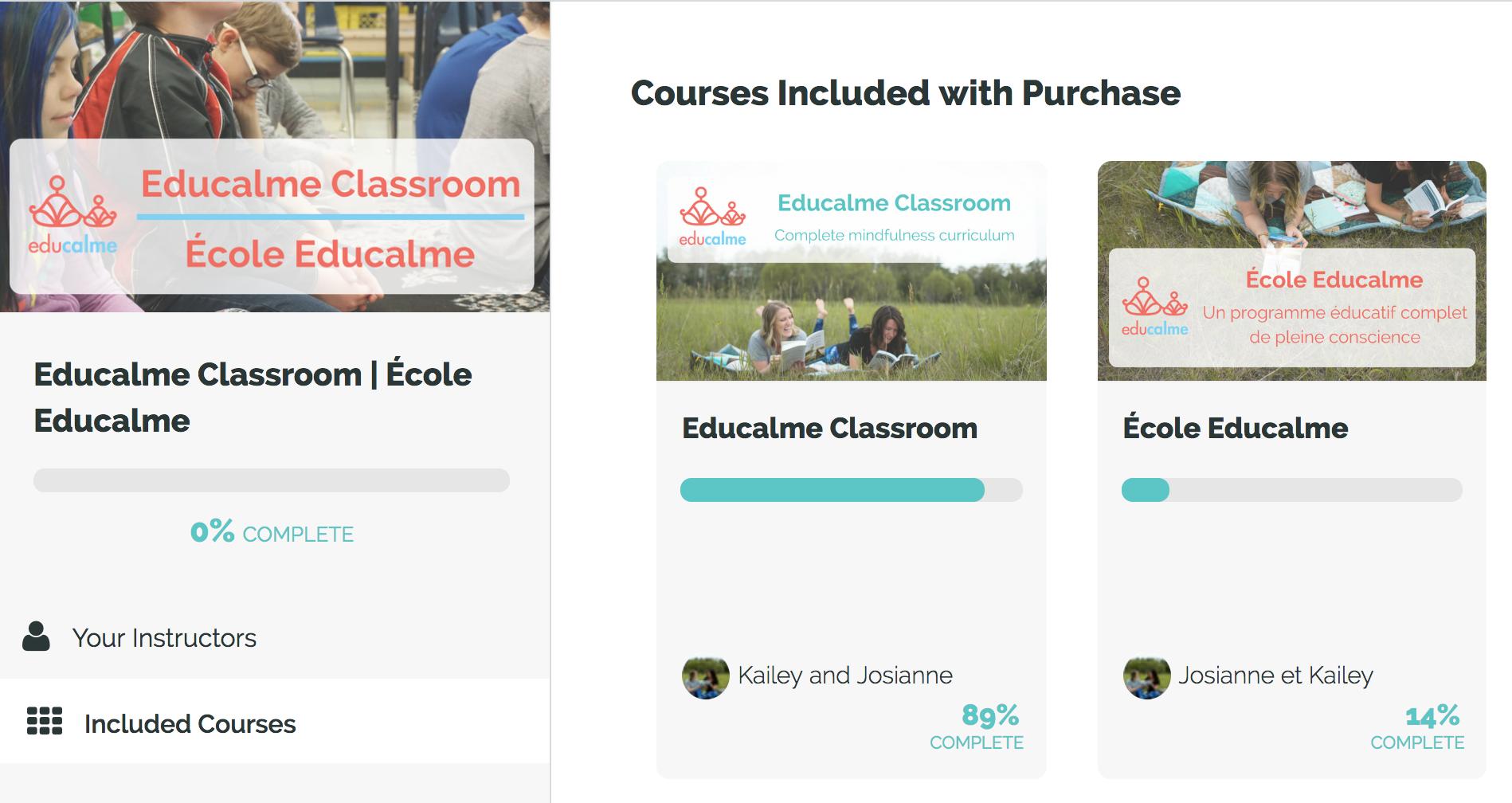 Educalme Classroom Log in View